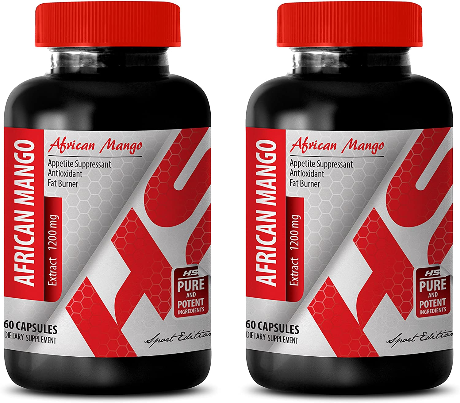 Fat Burner and Metabolism Booster - African Mango 1200MG - African Mango Extreme - 2 Bottles (120 Capsules)