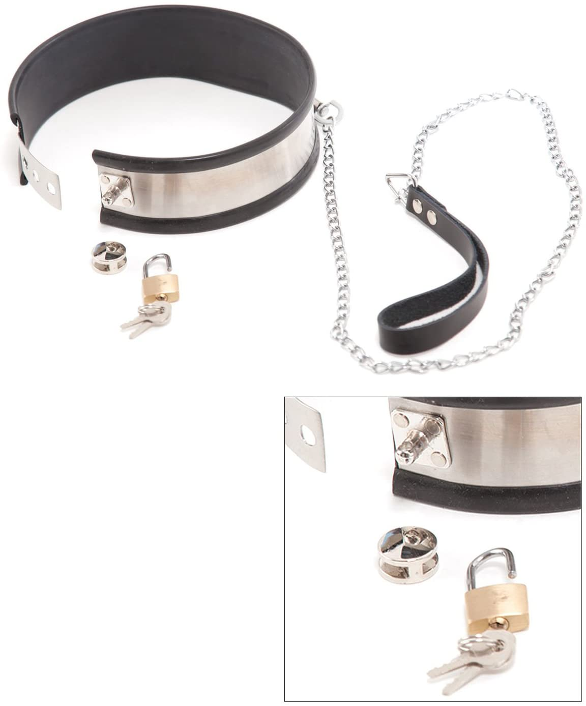 Rapture Novelties Steel Band Collar with Leash (Large)