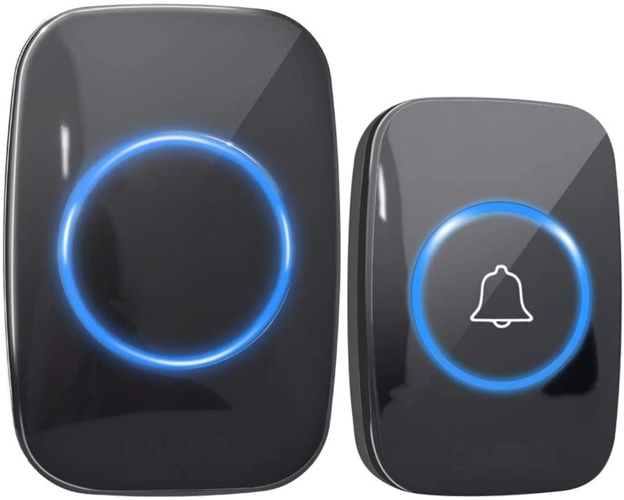 Wireless Doorbell, Waterproof Door Chime Kit Includes Push Button Transmitter and Plug-in Receiver, Over 300m Range, 4 Volume Levels and 36 Melodies Chimes