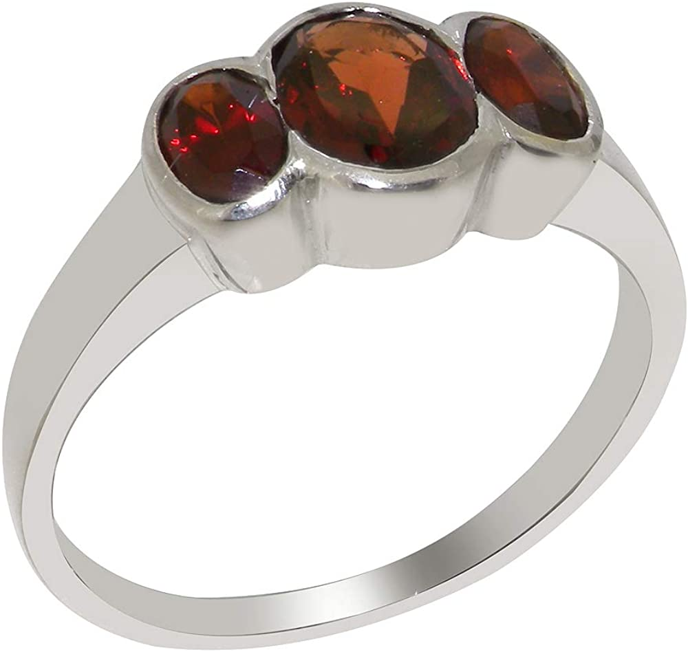 Solid 18k White Gold Natural Garnet Womens Trilogy Ring - Sizes 4 to 12 Available