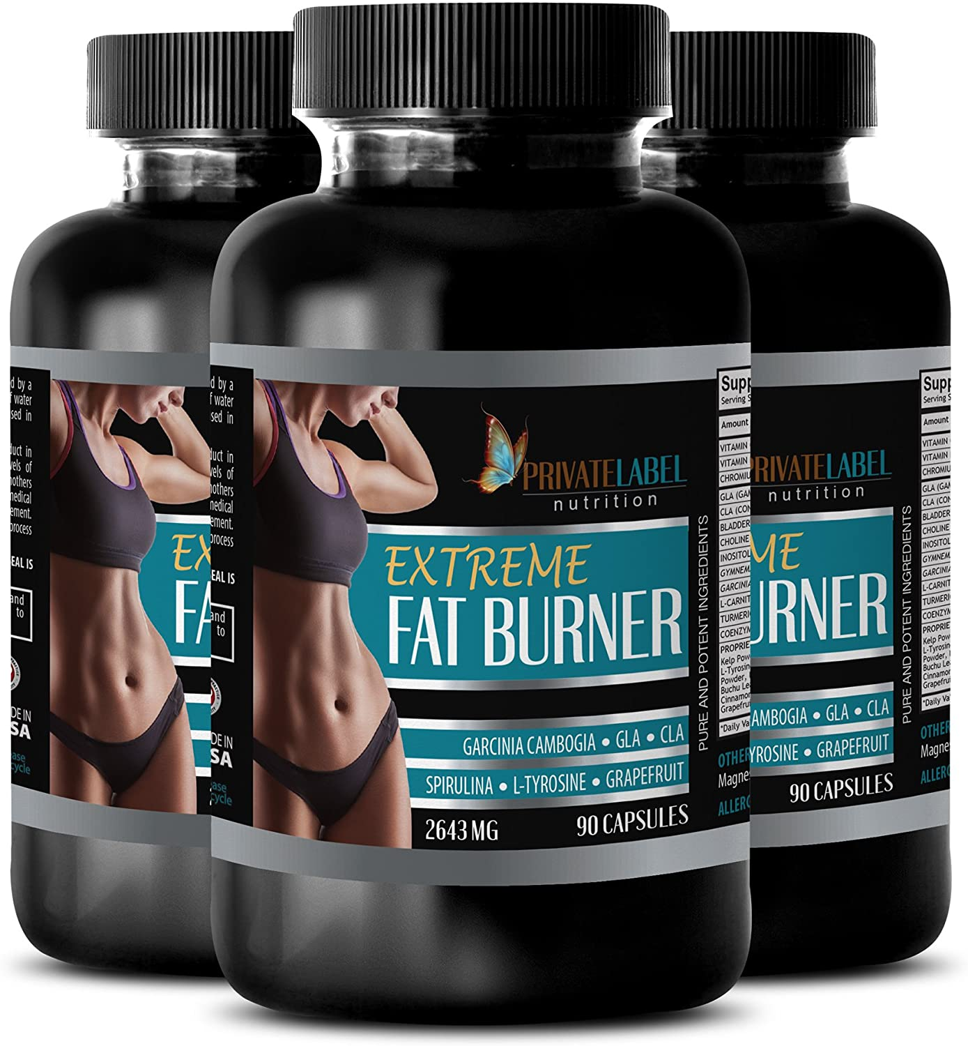 Weight Loss - Extreme Fat Burner 2643 mg - Gla Supplement - 3 Bottle (270 Capsules)