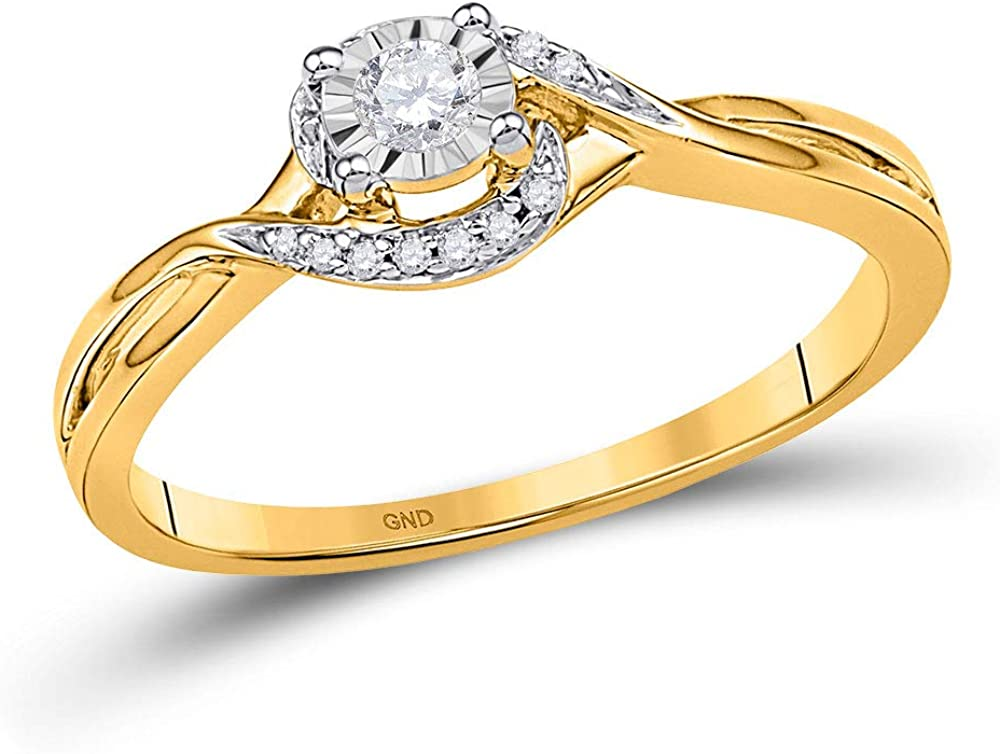 The Diamond Deal 10kt Yellow Gold Womens Round Diamond Solitaire Promise Bridal Ring 1/10 Cttw