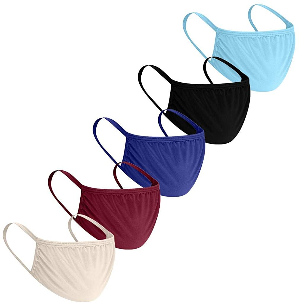 5Pcs Reusable Face Máck for Adult Kids, Unisex Fashion Solid Color Half Face Bandanas Anti Dust Breathable Fabric
