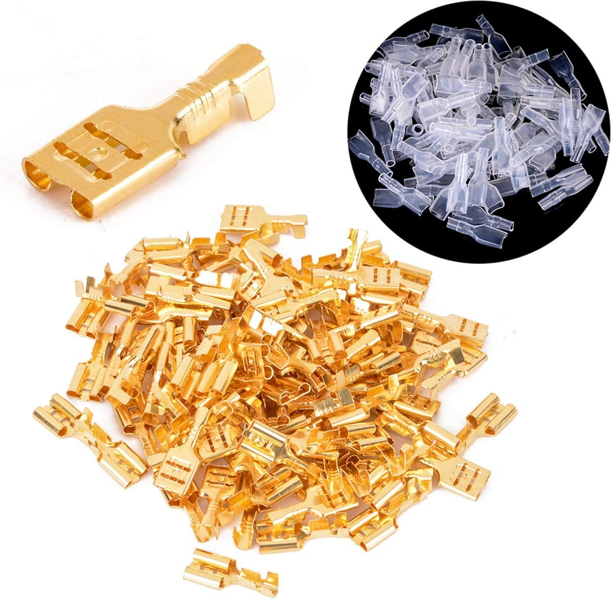 Onvas 100pcs 0.5mm Thickness Brass Crimp Terminal Female Spade Connectors 4.8mm + 100pcs Insulating Sleeves