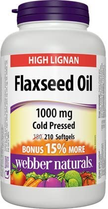 Webber Naturals Cold Pressed Certified Organic Flaxseed Oil Softgel 1000mg 210 SoftGels