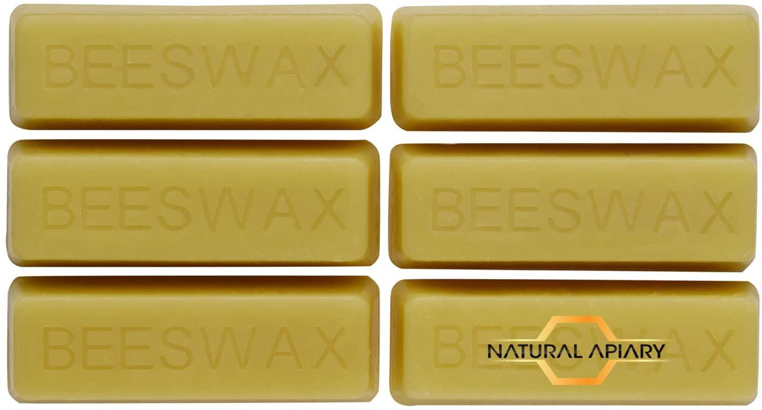 NATURAL APIARY - 100% Cosmetic Beeswax Bars - 6 x 1oz Bars - Moisturizer, Lotions, Creams, Lip Balms, Soaps
