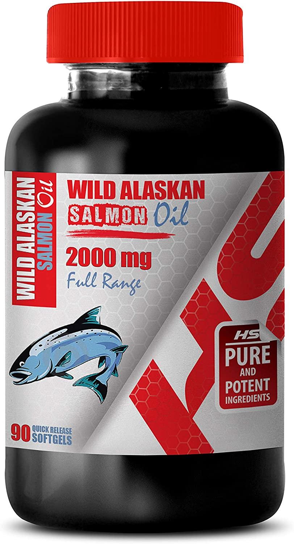 Brain Health Formula - Wild Alaskan Salmon Oil 2000 Mg Full Range - Wild Alaskan Salmon Oil Pills - 1 Bottle 90 Softgels
