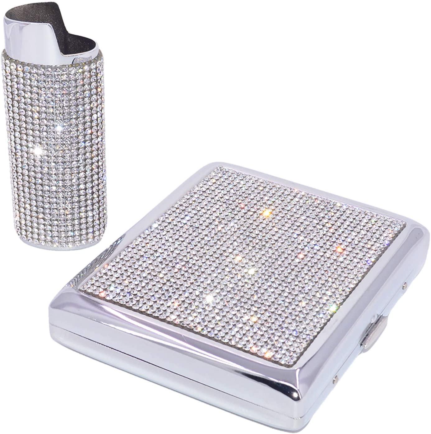 Bling Crystal Rhinestone Cigarette Case/Lighter Sleeve Set for Kings