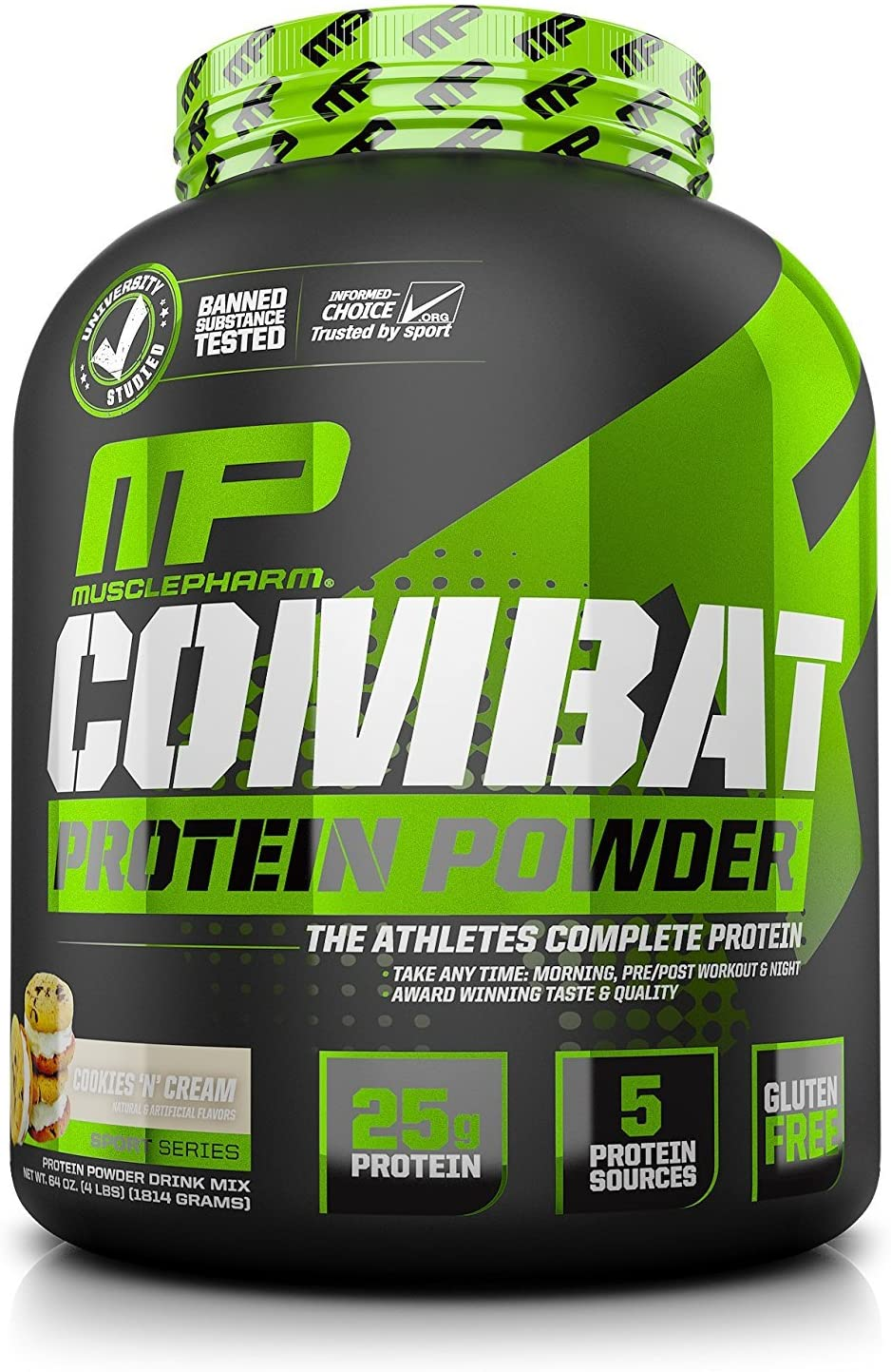 MusclePharm Combat Protein Powder, 5 Protein Blend, Cookies N Cream, 4 Pounds, 52 Servings