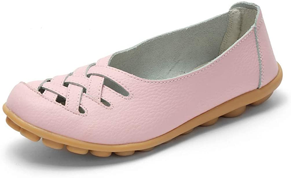Yakoya Ladies Flats Moccasins Comfortable Loafers Cut Outs Leisure Flats Leather Casual Shoes for Spring/Autumn Women