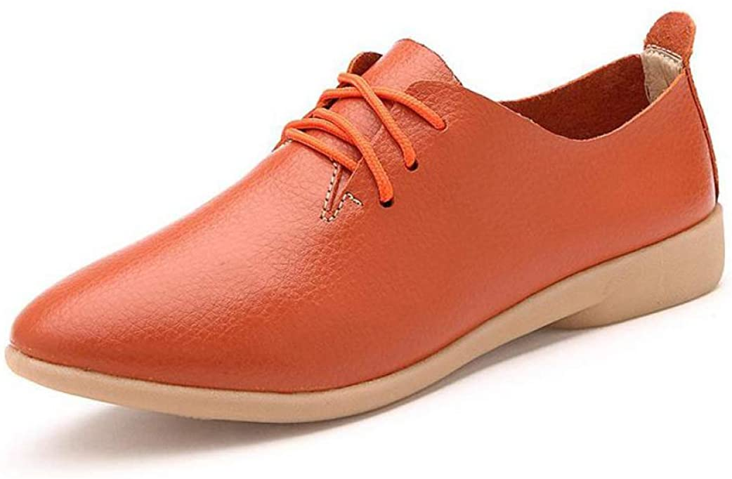 Women's Oxford Shoes Flats Lace-Up Soft Spring Pointed Toe British Style Casual Moccasins Shoes