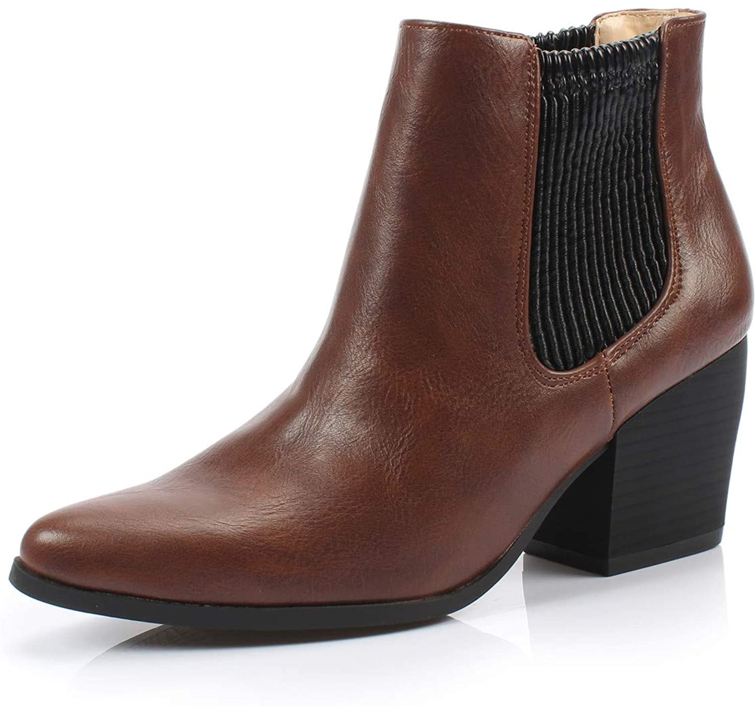DUNION Women's Slip On Glamour Fashion Chunky Heel Ankle Boot