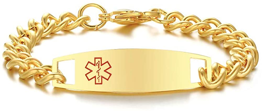 VNOX Customized Stainless Steel Medical Alert ID Bracelet for Men,Gold Plated 8.5