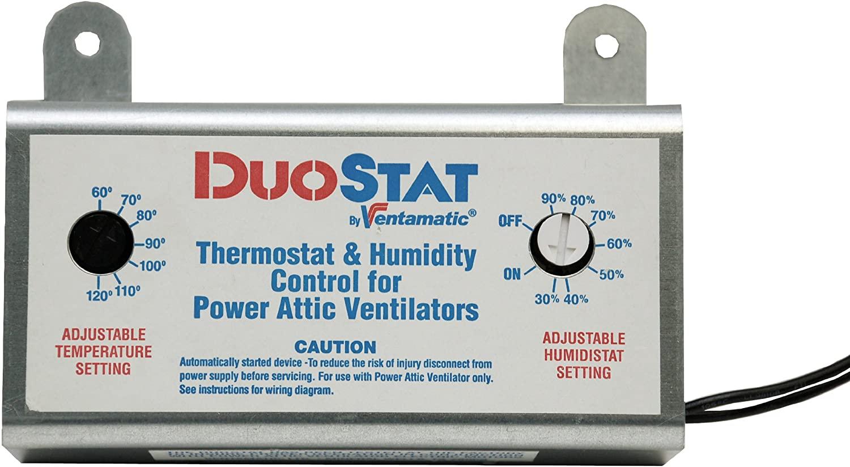 Ventamatic XXDUOSTAT Adjustable Dual Thermostat/Humidistat Control for Power Attic Ventilators