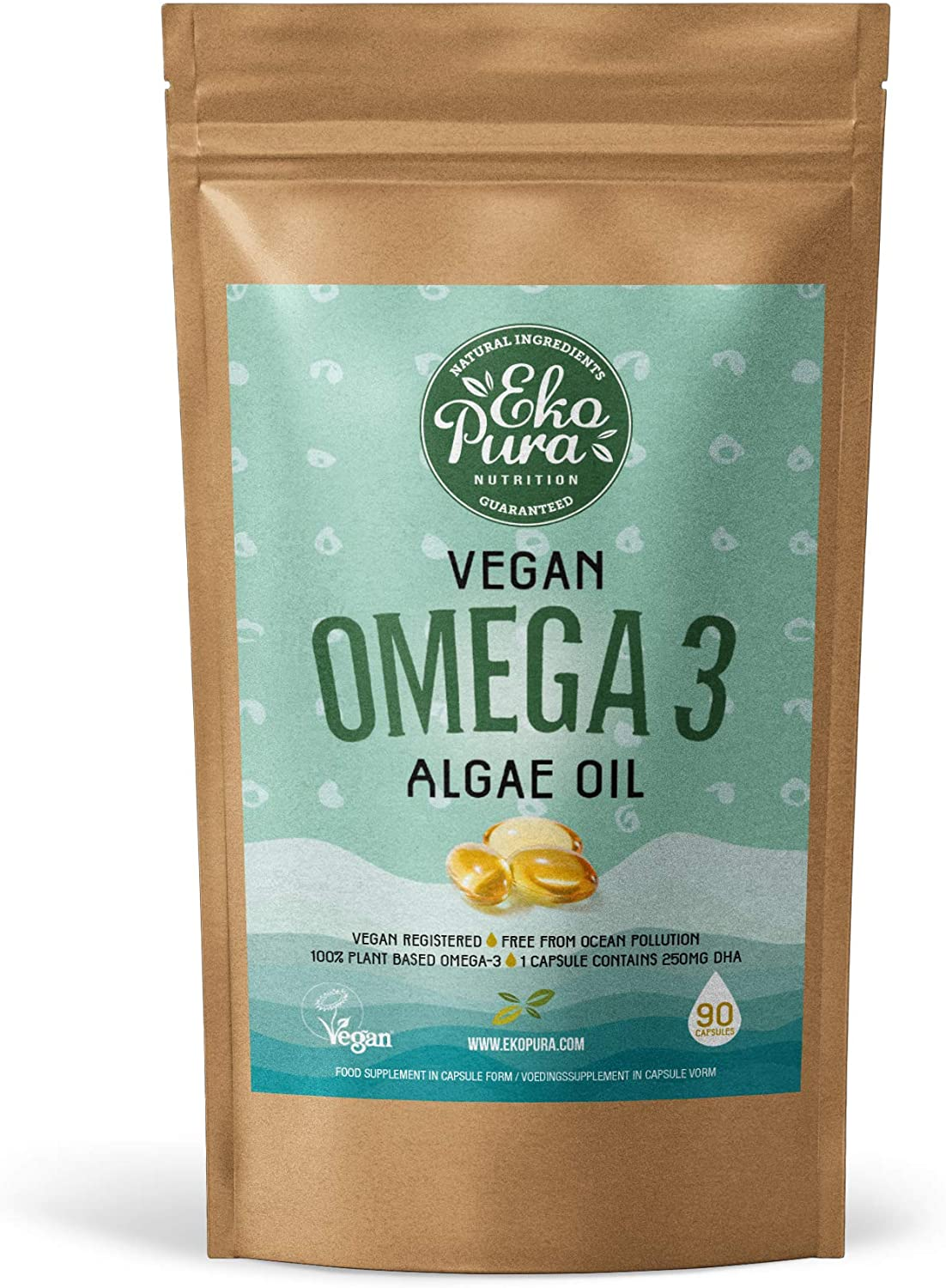 Vegan Omega 3 - Algae Oil, 90 Capsules (250mg DHA/Capsule), 3 Month Supply - Sustainable Alternative to Fish Oil