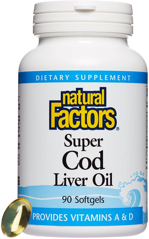 Natural Factors - Super Cod Liver Oil, Provides Vitamins A & D, 90 Soft Gels