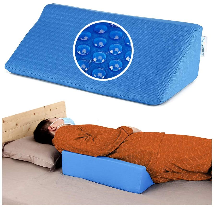 NEPPT Wedge Pillows for Sleeping Bed Gel Wedges Body Positioners 30 Degree Incline Wedge Pillow for Adults, Back Pain, Bed Sore Medical Foam Elevated Legs Bolster (Blue-Gel)