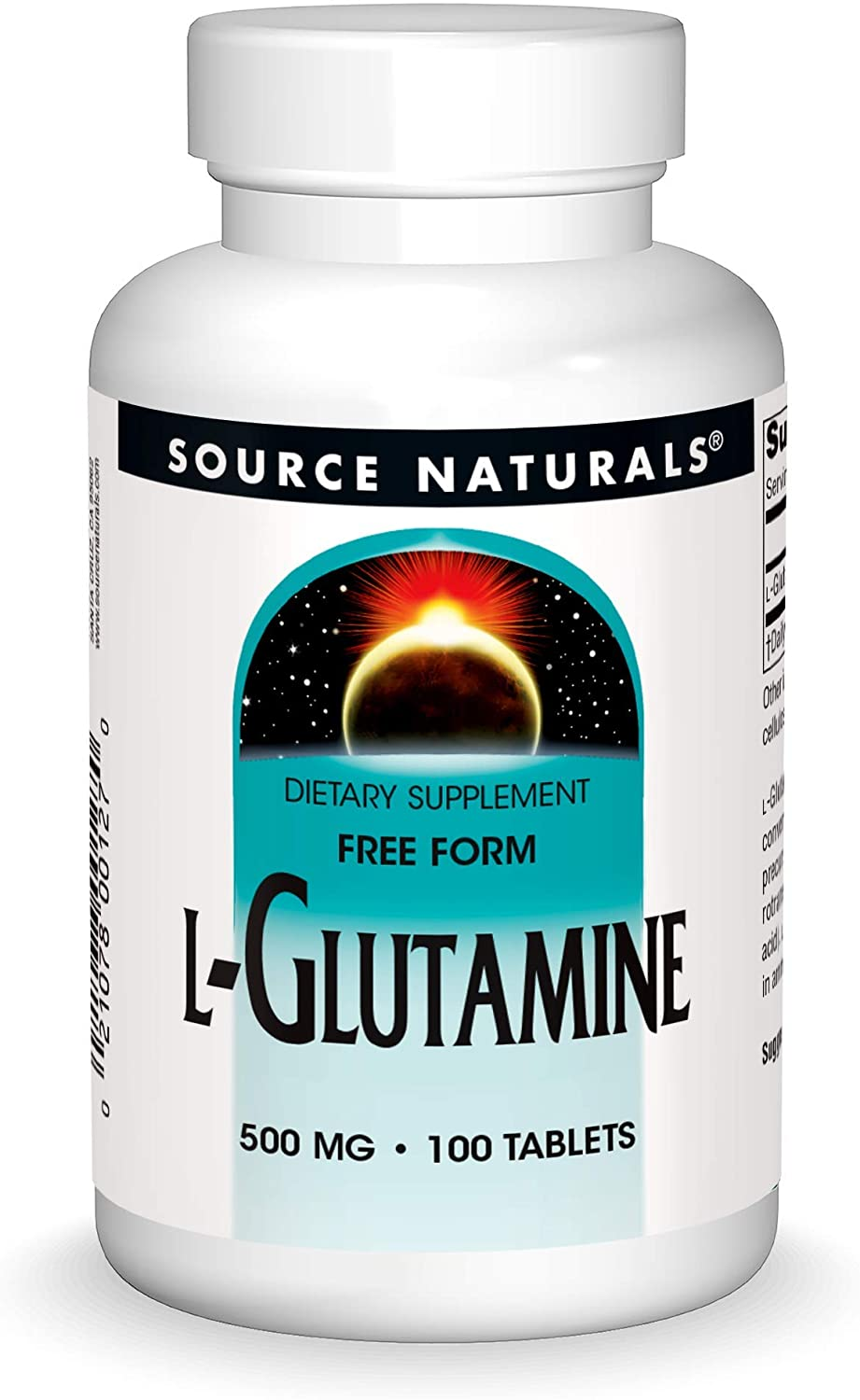 Source Naturals L-Glutamine - Free Form Amino Acid That Supports Metabolic Energy - 100 Tablets