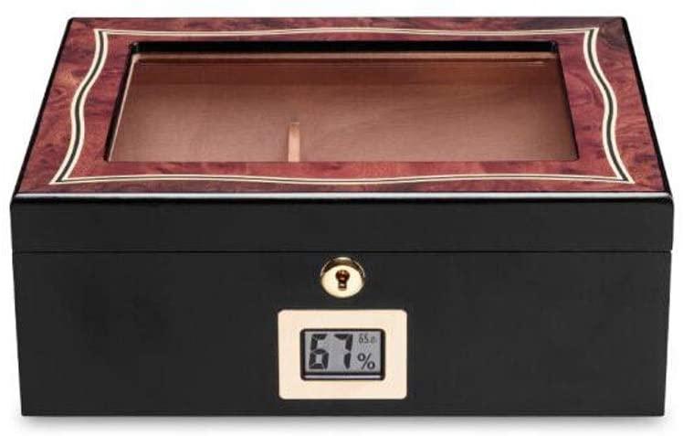 ZXY-NAN humidor Cigar Box, Cedar Wood Cigar Box Large Capacity 35 Sticks, Suitable for Smokers' Cigar Humidors and Cigar Accessories, Wood Grain Color Optional Good Mood, Good Life Portable humidor