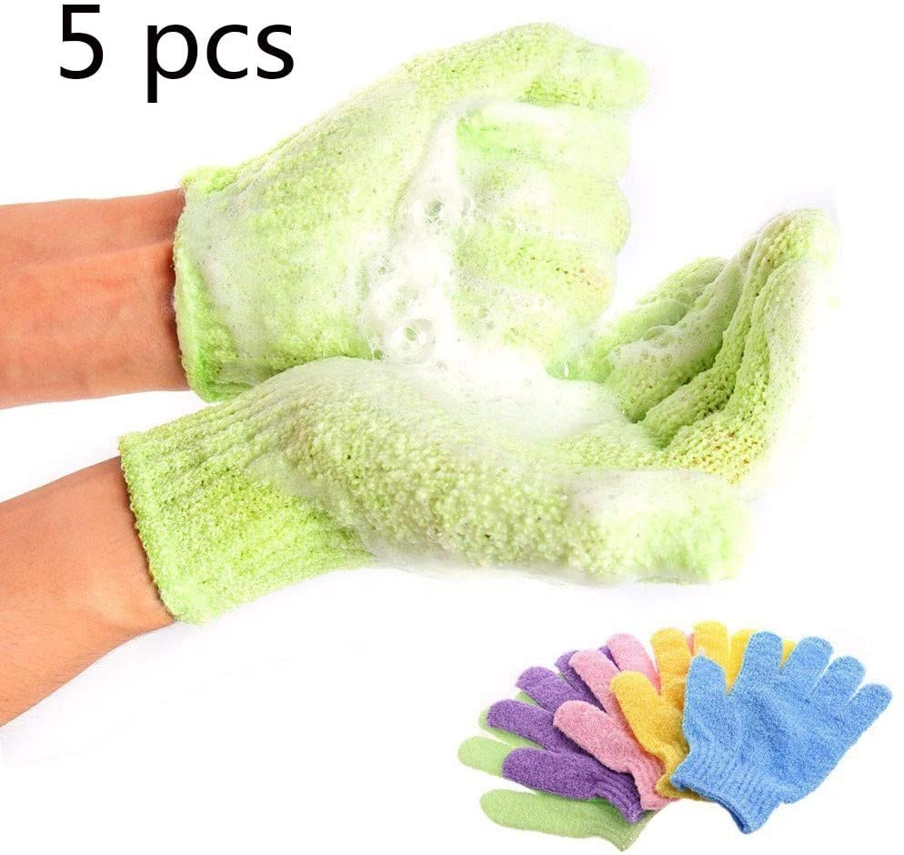 Fangqiyi 5 Pairs Exfoliating Gloves, Shower Body Gloves Double Sided Scrubbing Bath Gloves Body Scrubbing Glove Bath Scrubs for Shower