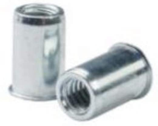 AEOS10-428-165, RIVETNUT, 1/4-28 (.030-.165 GR) RND Body, Low PRO HD, Steel, Zinc CLR (100 PK)