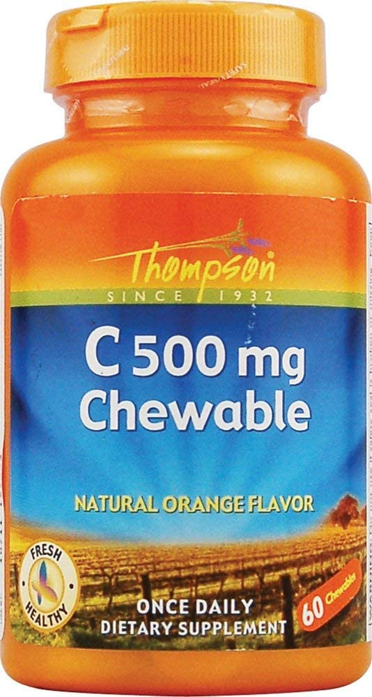 Thompson C Chewable Tablets, Orange, 500mg, 60 Count