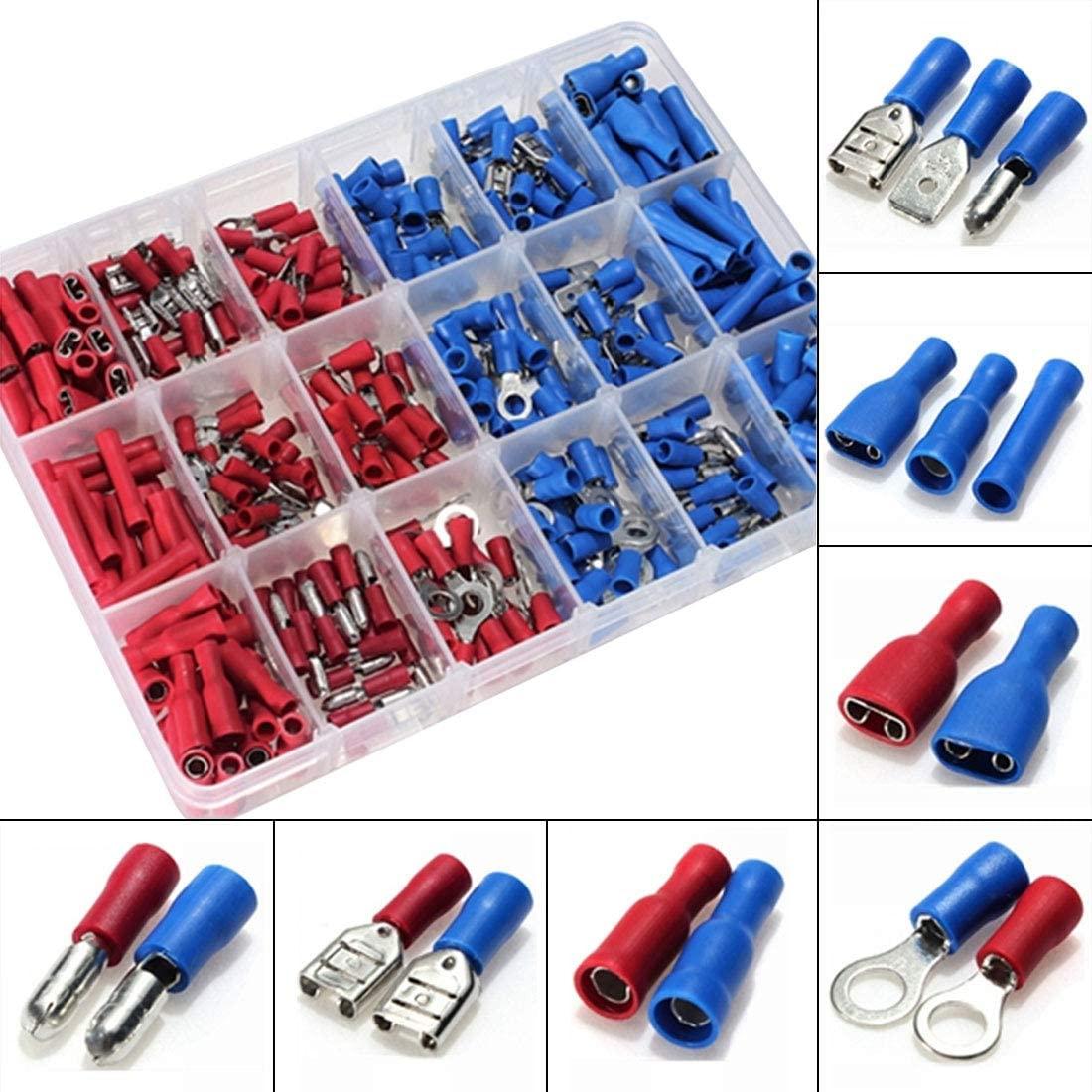 Davitu Electrical Equipments Supplies - 360pcs Insulated Terminals Crimp Connector Butt Spade Ring Fork Set