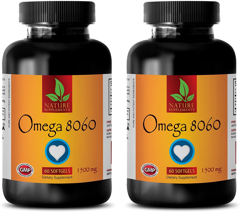 Natural Fish Oil 1500mg - Omega 8060 (Fish Oil Soft GELS) - Omega 3 Capsules - 2 Bottles 120 Softgels