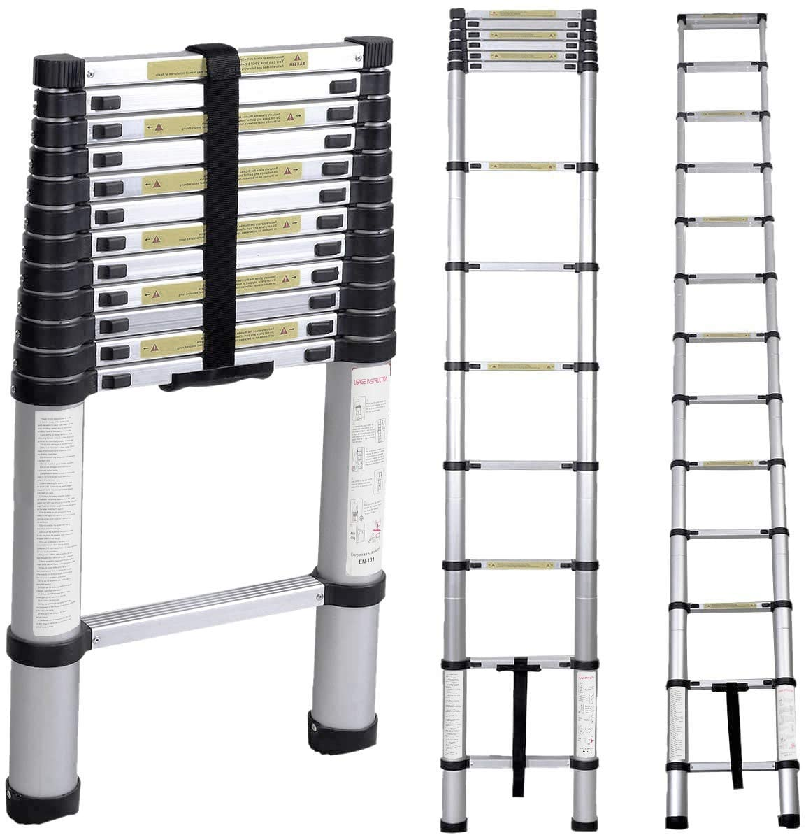 Soges 12.5ft Telescoping Extension Ladder,12 Steps Aluminum Extendable Telescopic Ladder with Spring Loaded Locking Mechanism Non-Slip Ribbing 330 Pound Capacity EN131 Certified, KS-JF-001