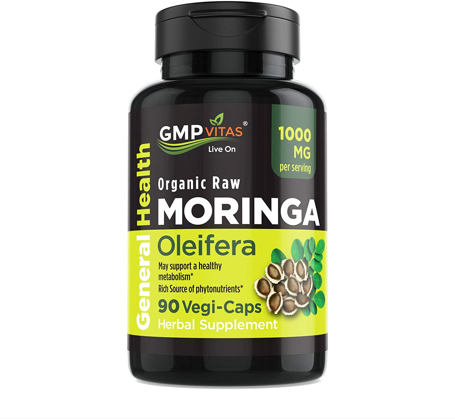 GMP Vitas® Organic Moringa Oleifera Non-GMO 1000 mg 90 Vegetarian Capsules Rich Source of Essential Vitamins & Proteins