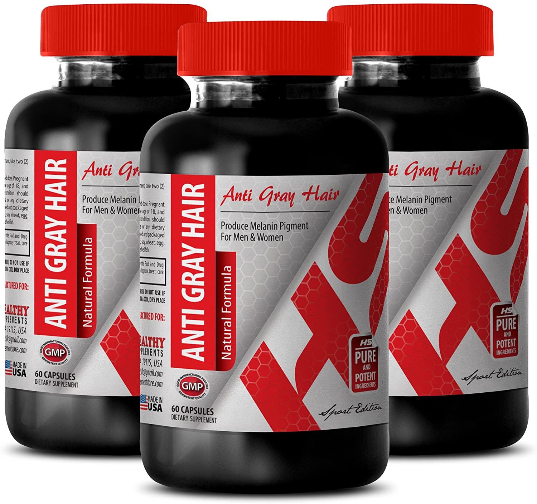 antiaging Eye - Anti-Gray Hair 1200MG - Natural Formula - zinc - 3 Bottles (180 Capsules)