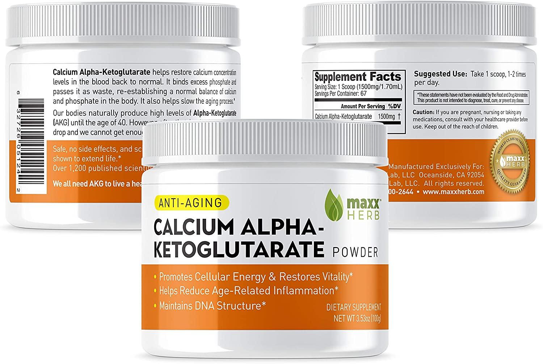 Maxx Herb Calcium Alpha - Ketoglutarate (Ca-AKG) Pure Powder (100 Grams) for Energy, Mental Focus, Clarity & DNA Structure (1 Jar)