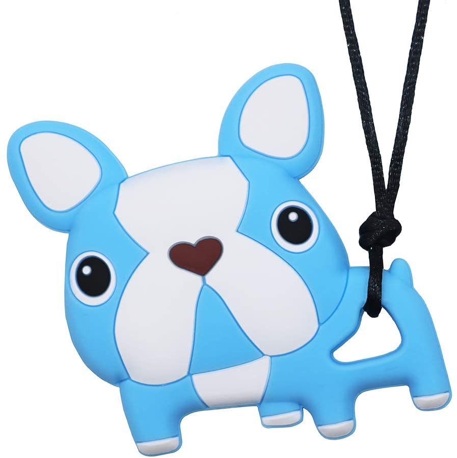 Sensory Chew Necklace for Boys and Girls - Oral Motor Aids Silicone Chewy Pendant Jewelry for Autism ADHD SPD Teething Biting with Special Needs Kids Adults - Cute Blue Dog Chewies Toys