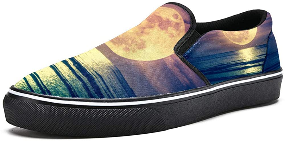 imobaby Women Slip on Loafer Shoes Full Moon and Seascape Fashion Canvas Flat Boat Shoe