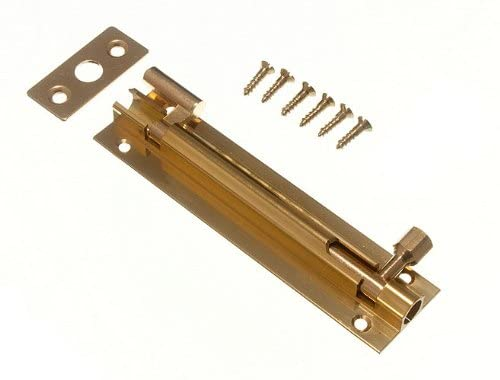 DOOR BARREL SLIDE BOLT CRANKED OFFSET 100MM 4 INCH BRASS + SCREWS ( pack of 2 )