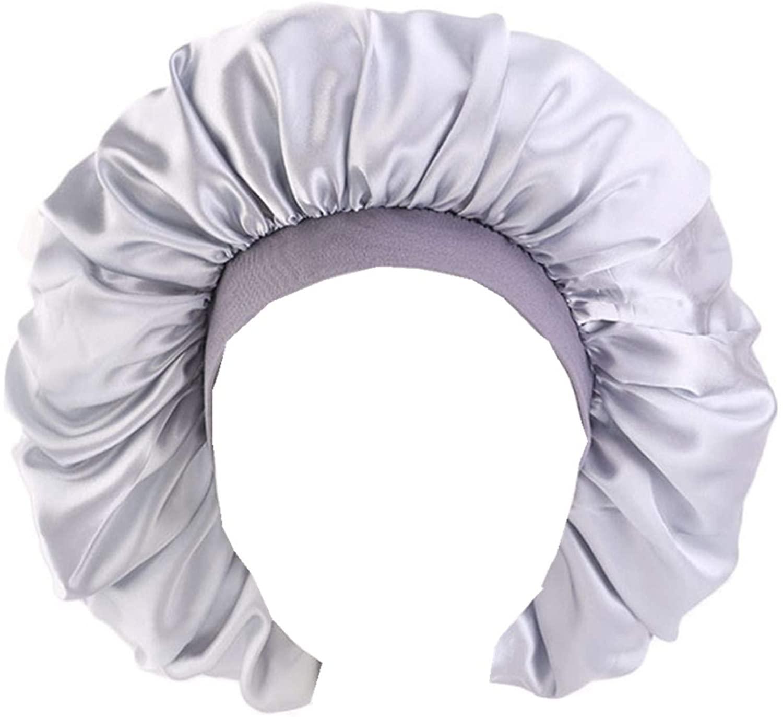 Qianmome Women Big Size Beauty Print Satin Silk Bonnet Sleep Night Cap Head Cover Bonnet Hat for Curly Springy Hair