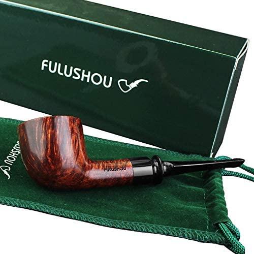 FULUSHOU Mediterranean Briar Wood Tobacco Pipe, Small Type Tobacco Pipe