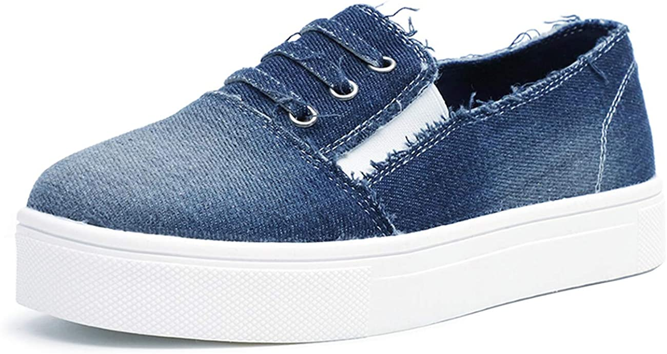 FIRENGOLI Women's Casual Sneakers Slip On Canvas Loafer Fashion Lazy Flat Shoes