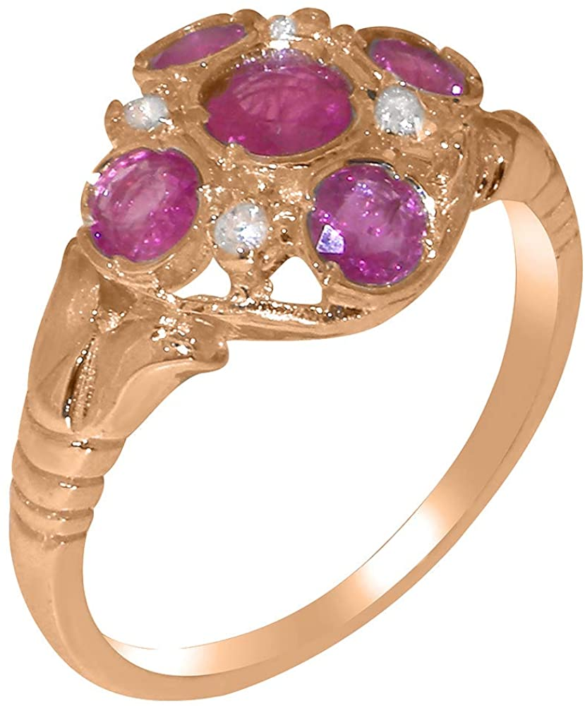 Solid 18k Rose Gold Natural Ruby & Cubic Zirconia Womens Cluster Ring - Sizes 4 to 12 Available