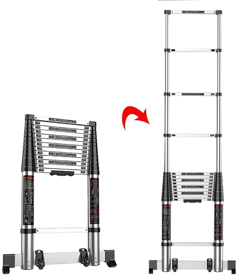 LADDERS Ladder Telescopic Ladders,Folding Telescoping Straight Ladder for Engineering, Heavy-Duty Aextendable Ladder for Household Loft, 330Lbs Capacity,4.7M/15.4Ft