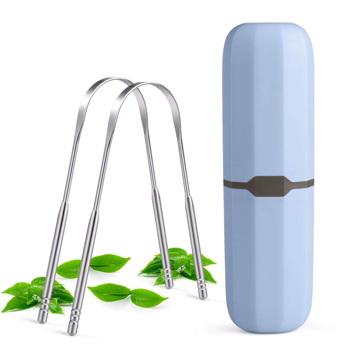 Tongue Scraper,bedace Tongue Cleaner For Adults,2pack Tounge Scraper Cleaner Stainless Steel For Men and Women With Case.