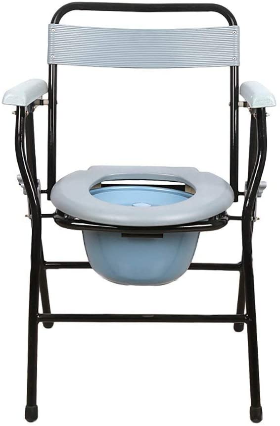 ZXY-NAN Bathroom Wheelchairs Family Elderly Pregnant Woman Toilet-Bedside Toilet/Bath Chair/Toilet Chair/Toilet Chair Steel Pipe Lightweight Foldable White Applicable to The Elderly, Disabled, Pregnan