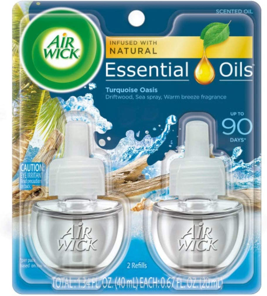 Air Wick Life Scents, Scented Oil Plug in Air Freshener Refills, Sea Spray and Warm Breeze Scent, 2 Count, 1.34 Fl Oz