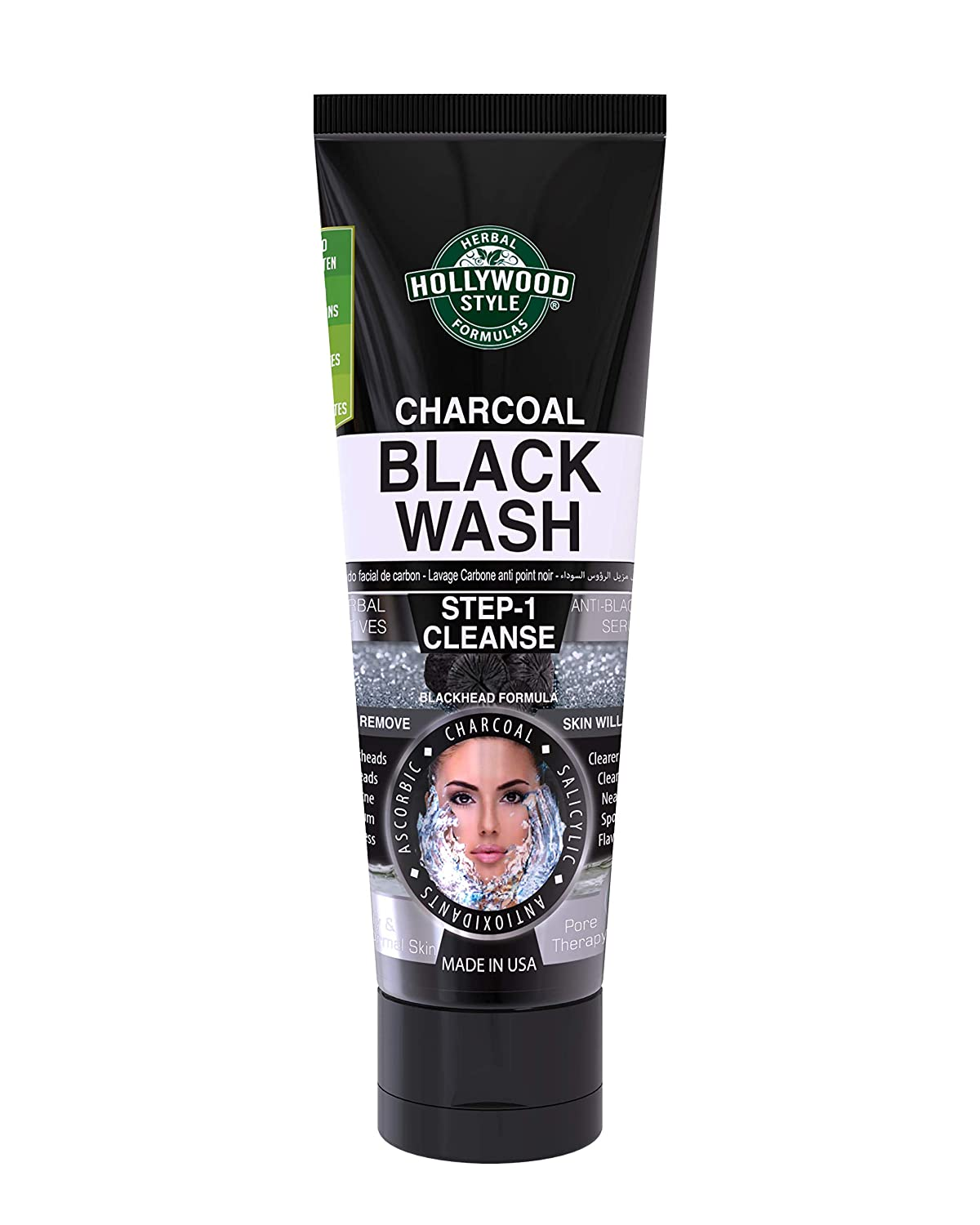 Hollywood Style Activated Charcoal Black Wash Helps Remove Acne and Blackheads, 3.2 fl. Oz.