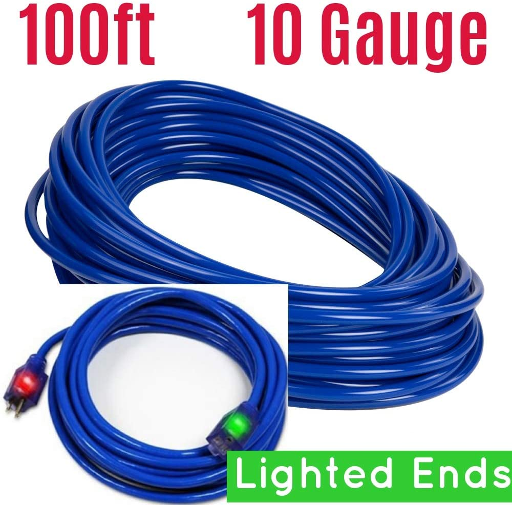 100 ft 10 Gauge Extension Cord 10/3 Contractor Grounded Extension Cord 100 ft 10 Gauge Power Extension Cord 10/3 Plug Extension Cords 100 ft with Lighted Ends