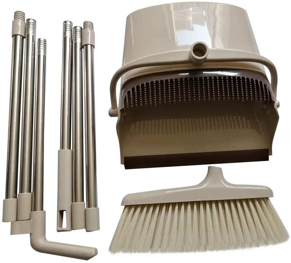 Long-handled broom and dust pan kit, home, kitchen, room, office, hall floor upright dust pan combination, 3 poles total length 46 inches