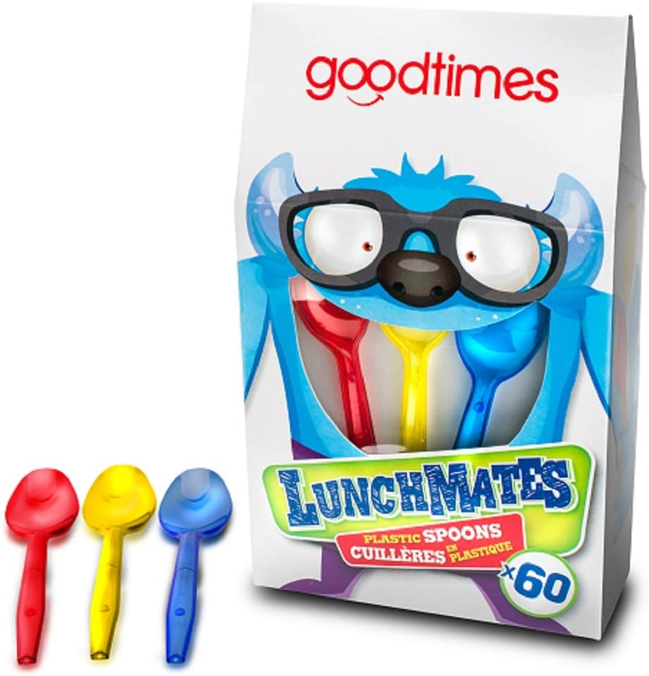 Goodtimes LunchMates Colorful Red,Yellow, And Blue Disposable Plastic 4 3/4 Mini Kids Spoons 60 Pack Box