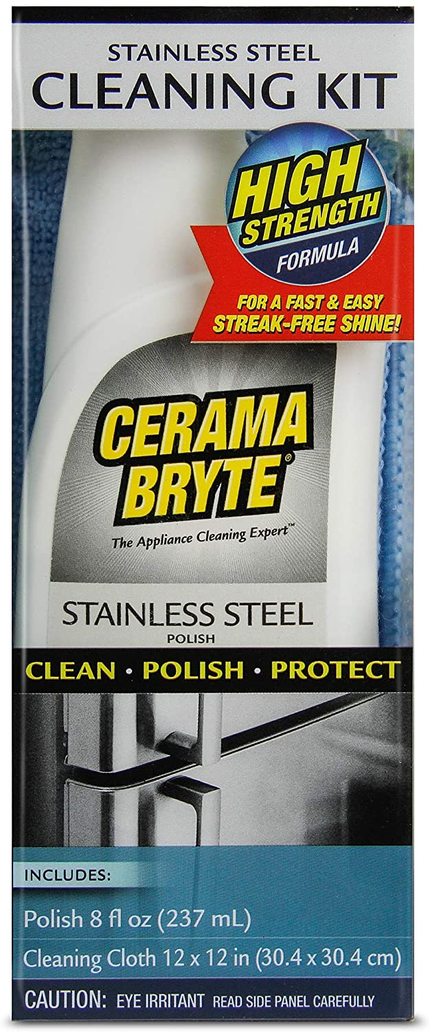 Cerama Bryte Stainless Steel Cleaning Polish Kit, 8 oz & Cleaning Cloth