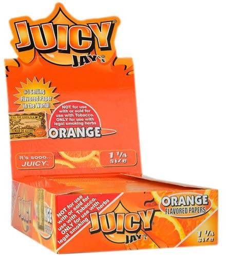 JUICY JAY'S FLAVORED PAPERS 32 LEAVES 1 1/4 ORANGE FLAVOR PACK OF 24