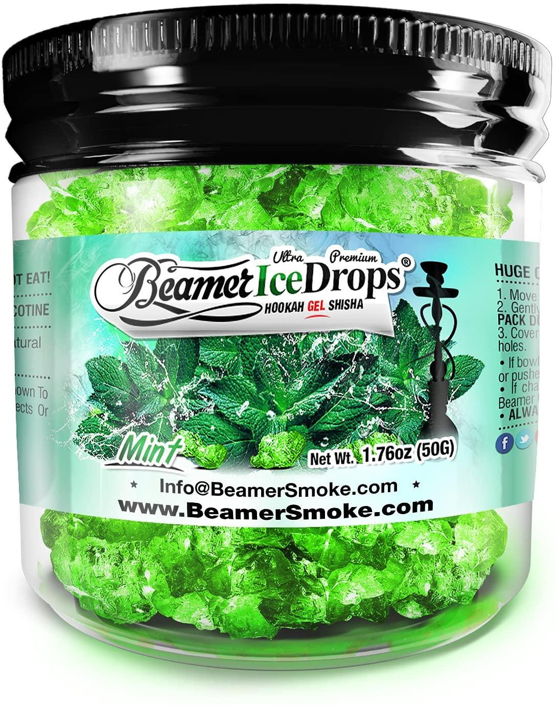 Mint 50G Ultra Premium Beamer Ice Drops Hookah Shisha Smoking Gel. Each Bowl Lasts 2-4 Hours! USA Made, Huge Clouds, Amazing Taste! Better Taste & Clouds Than Tobacco!